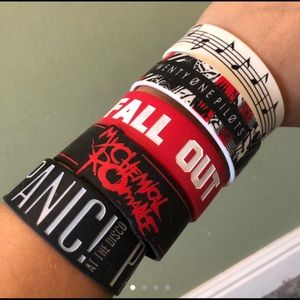 2000s Emo Music Hot Topic Wristbands (Pack of 5)